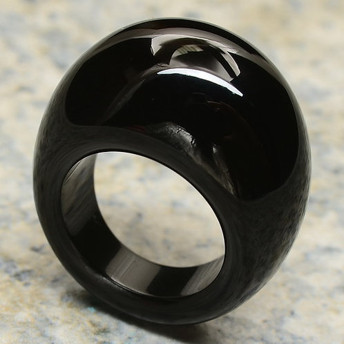 Natural Black Agate Ring