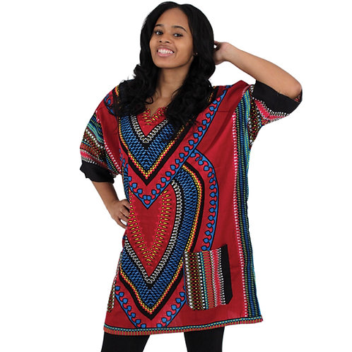 Burgandy Heart of the Motherland Dashiki (Free Size)