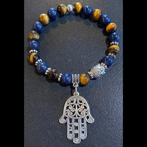 Tiger Eye & Jade Hamsa Budda Healing Bracelet