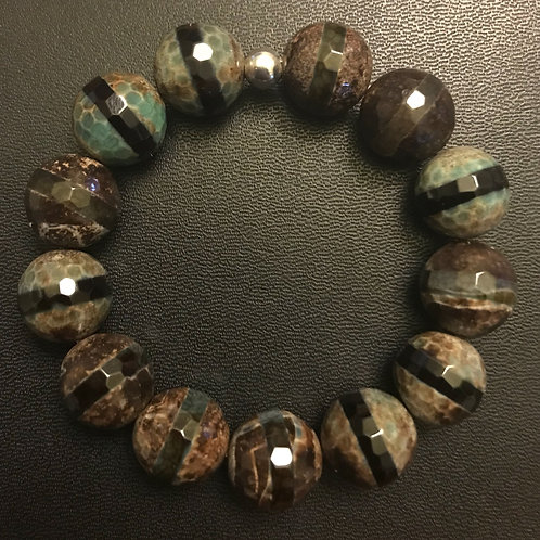 14mm Faceted Agate Healing Bracelet
