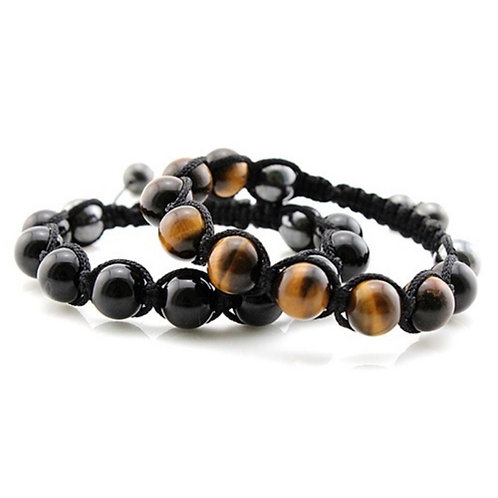 Tiger Eye & Black Agate Shamballa Bracelet Set