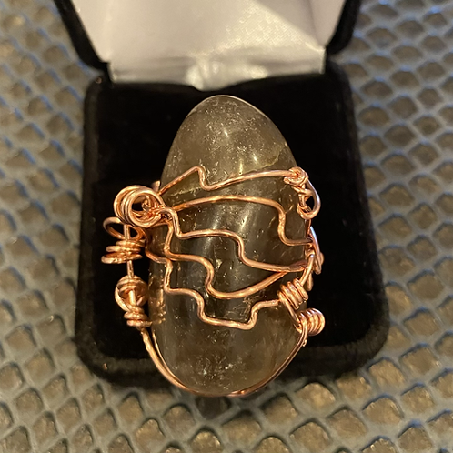 Smokey Quartz and Copper Ring