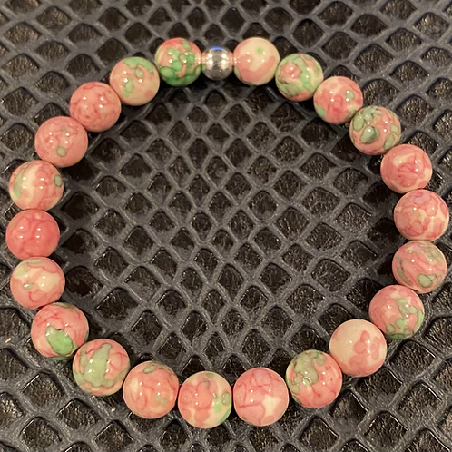 Pink & Green Rain Flower Jade Healing Bracelet
