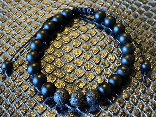 Matte Black Agate & Lava Stone Bracelet