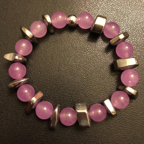 Lavender Jade and Hematite Healing Bracelet