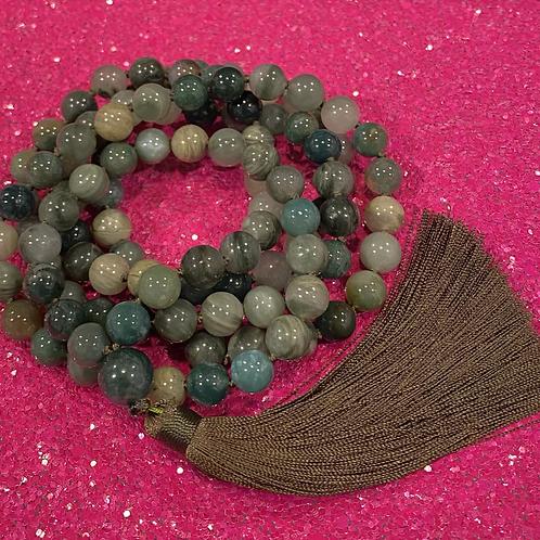 108 Burma Jade Mala Bead Necklace