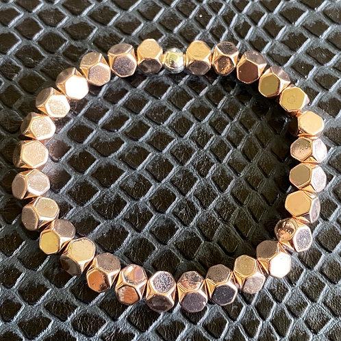 Cubed Rose Quartz Hematite Healing Bracelet