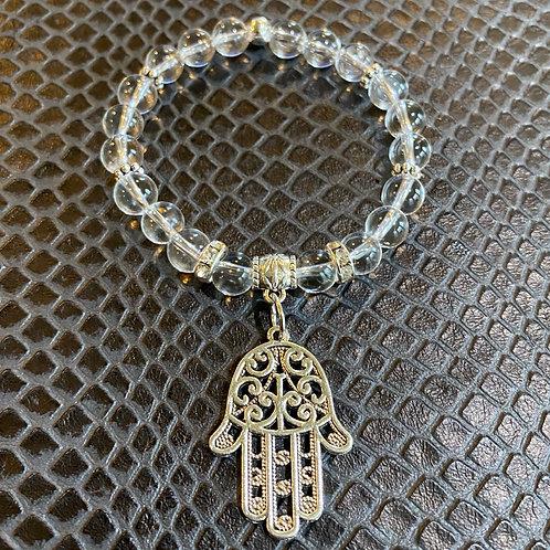 Clear Quartz Large Hamsa Healing Bracelet