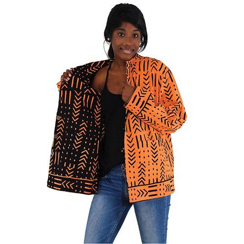 Orange Mud Cloth Print Jacket
