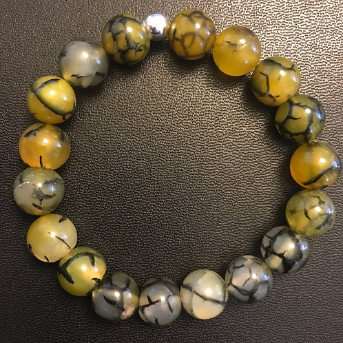 10mm Dragon Vein Agate Healing Bracelet