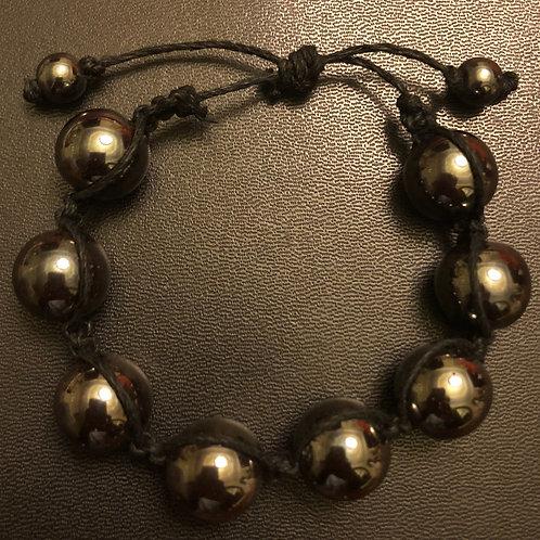 Hematite Hemp Shamballa Bracelet
