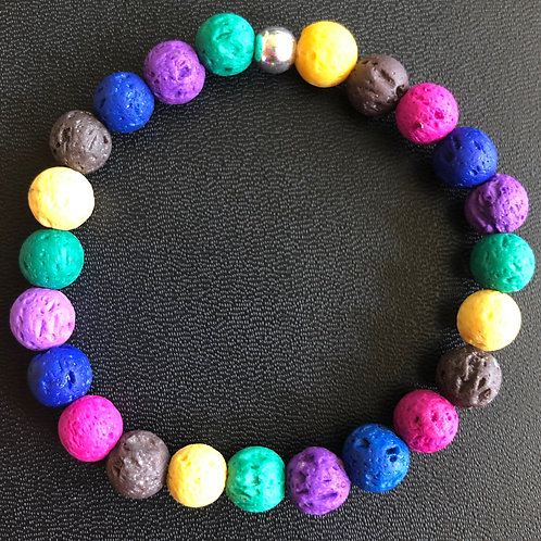 Bright Multicolored Lava Stone Healing Bracelet