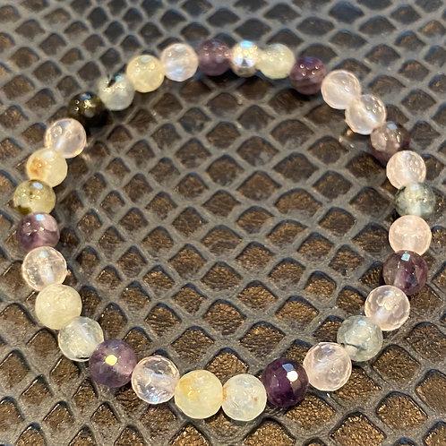 Faceted Amethyst, Rose Quartz and Prehnite Healing Bracelet
