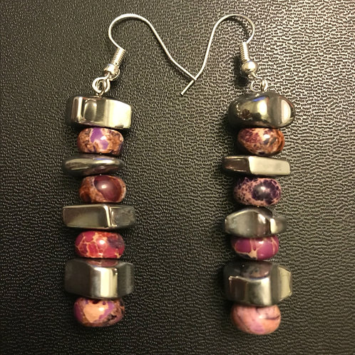 Imperial Jasper and Hematite Earrings