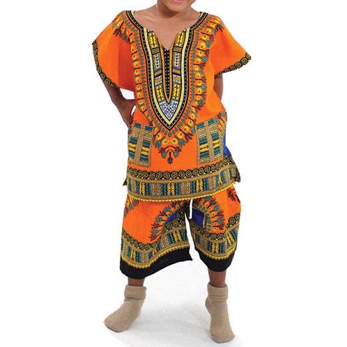 Orange Child Dashiki and Shorts Set