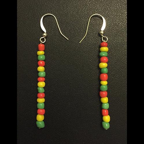 Jamaican Flag Colored Beaded Earrings