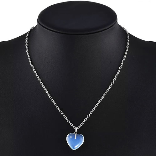 Opalite Heart Charm Necklace