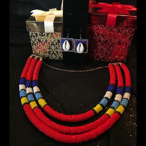 Red Maasai 3 Tier Choker & Earrings Gift Set
