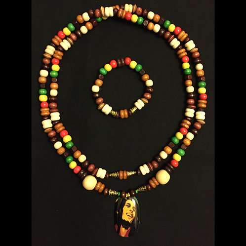 Bob Marley Beaded Necklace & Bracelet Set (Natural)
