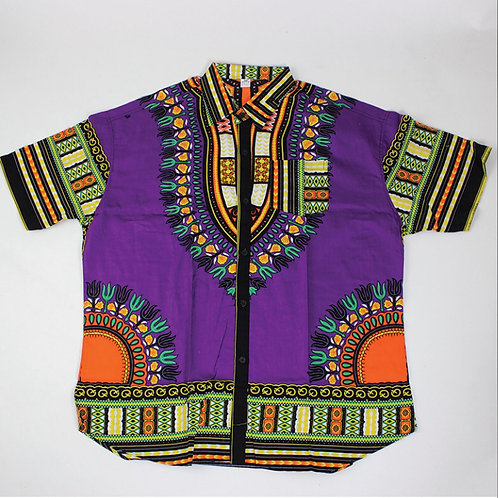 Purple Dashiki Button Up