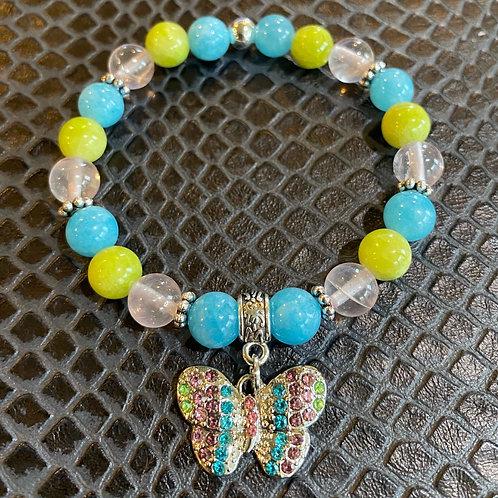 Rose Quartz & Jade Butterfly Healing Bracelet