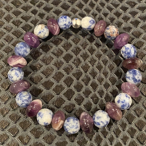 Faceted Sodalite and Amethyst Healing Bracelet
