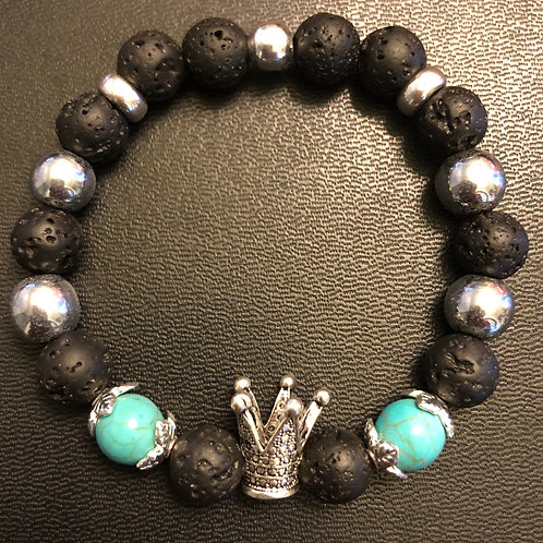 Turquoise, Hematite and Lava Stone Silver Crown Healing Bracelet