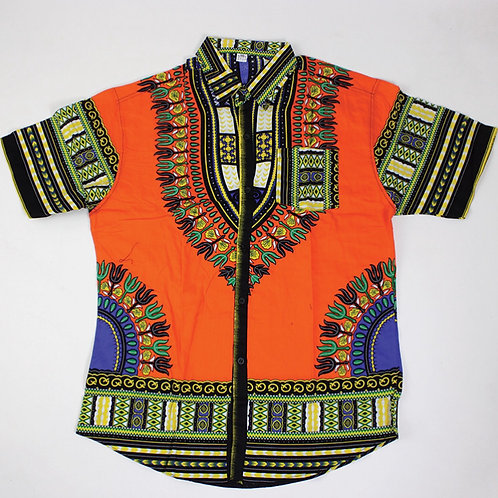 Orange Dashiki Button Up