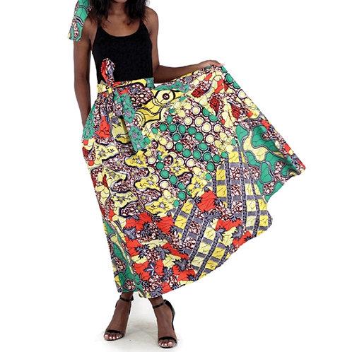 Royal Patchwork Print Long Skirt