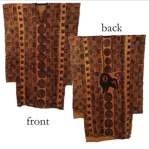 Lion Mudcloth Men's Robe (Brown)