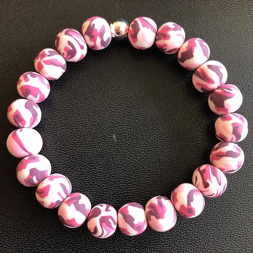 Pink Camo Clay Bracelet