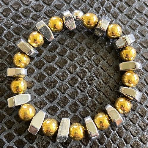 Silver & Gold Hematite Healing Bracelet