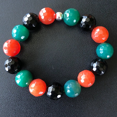 RBG 12mm Faceted Agate and Onyx Healing Bracelet