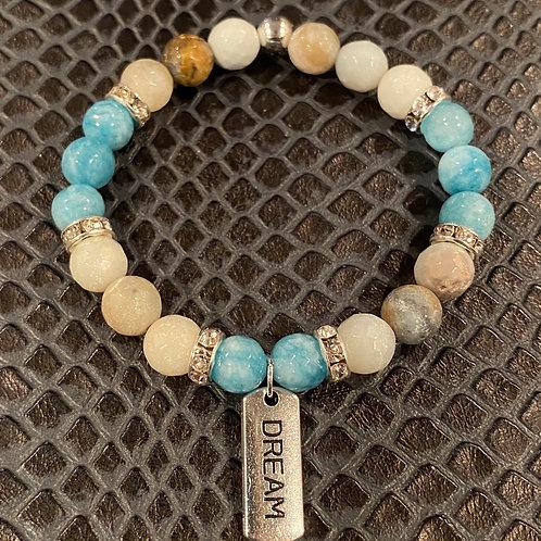 Dream Faceted Agate & Amazonite Healing Bracelet