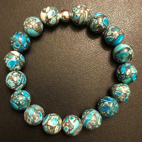 10mm Blue Howlite Healing Bracelet