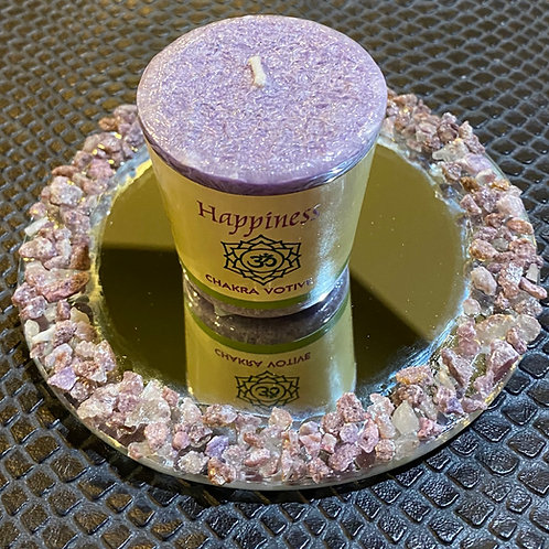 Raw Lepidolite Mirrored Candle Holder