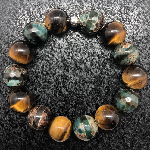 14mm Tiger Eye and Faceted Agate Healing Bracelet