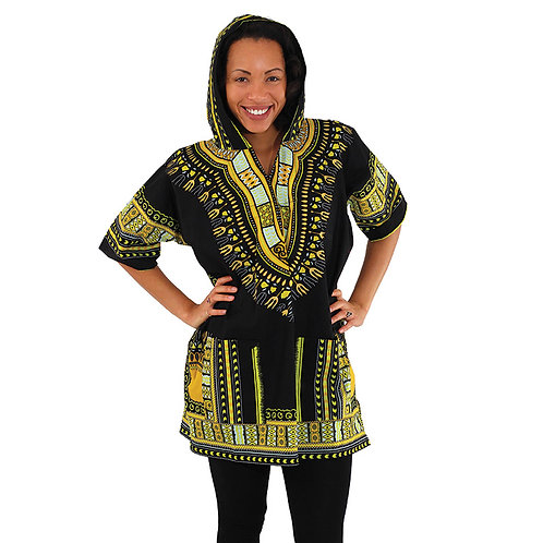 Black Kenyan Hooded Dashiki (Unisex)