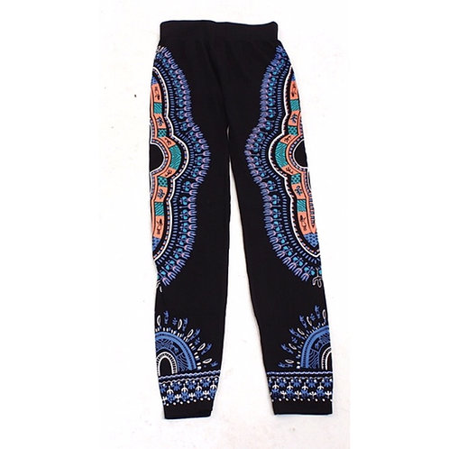 Black/Blue/Orange Dashiki Leggings