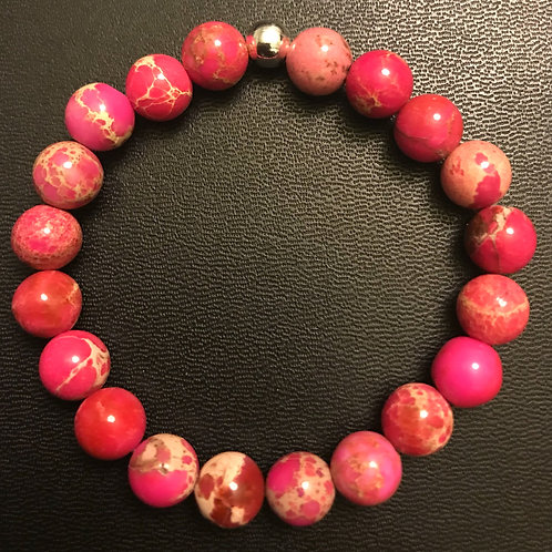 Pink Sea Sediment Jasper Healing Bracelet