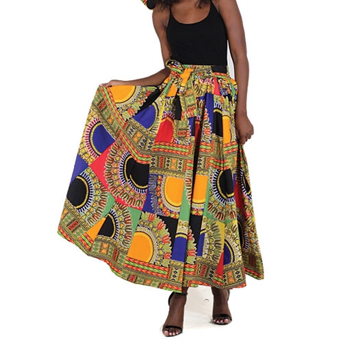 Traditional Print Long Patchwork Skirt
