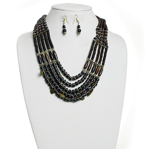 Dark Brown Beaded Tribal Necklace & Earrings Set