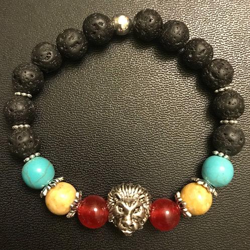 Turquoise, Jade, Picture Jasper and Lava Rock Silver Lion Bracelet