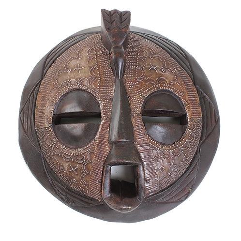Round Ashanti Wood & Metal Mask