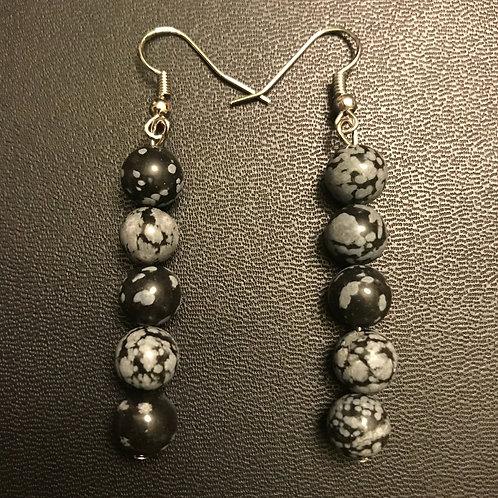 Snowflake Obsidian Drop Earrings
