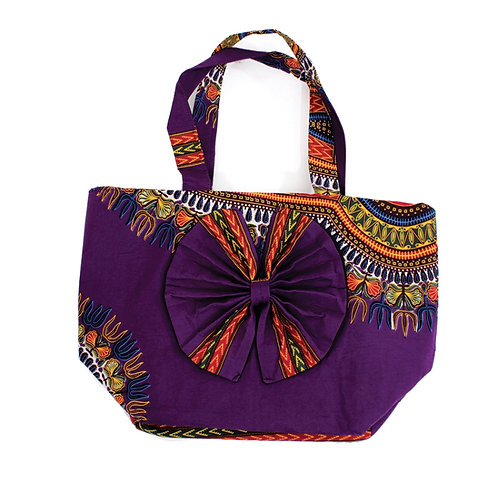 Purple Dashiki Bow Tie Bag