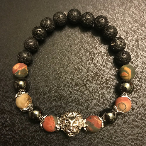 Matte Picture Jasper, Hematite & Lava Rock Lion Healing Bracelet