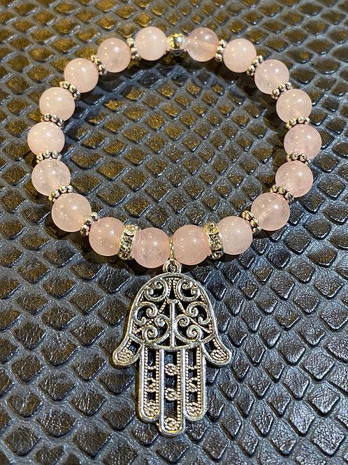Rose Quartz Hamsa Healing Bracelet