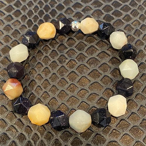 Diamond Cut Amazonite and Blue Sandstone Healing Bracelet