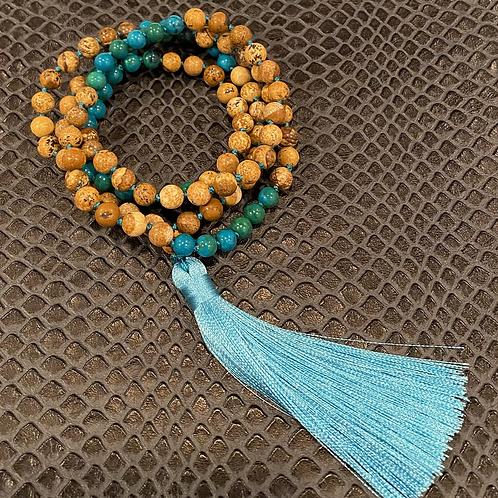 Chrysocolla & Jasper 108 Mala Bead Necklace